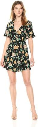 ASTR the Label Women's Morgan Retro Floral Print Flare Short Sleeve Mini Dress