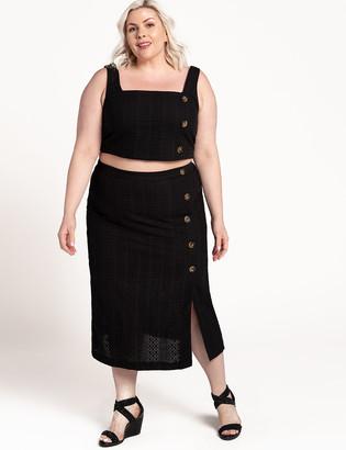 ELOQUII Eyelet Column Skirt with Button Detail