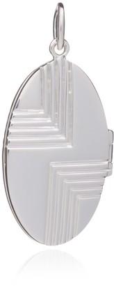 Rachel Jackson London Statement Art Deco Locket Necklace - Silver