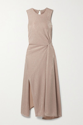 Lanvin Cutout Gathered Lurex Midi Dress - Sand