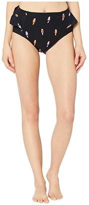 Kate Spade Flock Party Peplum High-Waist Bottoms (Black) Women's Swimwear