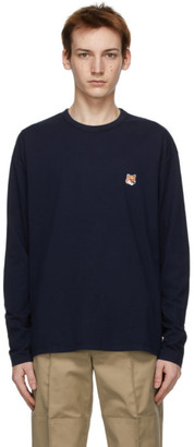 MAISON KITSUNÉ Navy Fox Head Long Sleeve T-Shirt