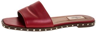 Valentino Red Leather Rockstud Flat Slides Size 37.5