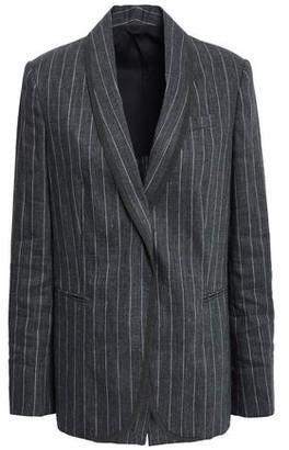 Brunello Cucinelli Bead-embellished Pinstriped Linen-blend Blazer