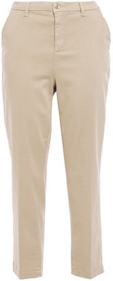 7 For All Mankind Cropped Cotton-blend Sateen Slim-leg Pants