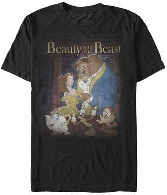 Disney Men Beauty and The Beast Distressed Vintage Group Shot Short Sleeve T-Shirt
