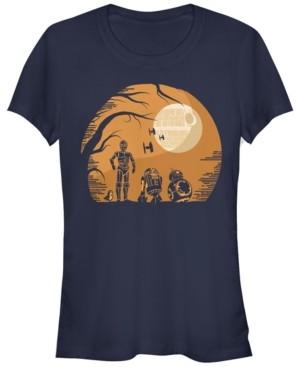 Fifth Sun Star Wars Women's Droids Halloween Orange Hue Death Star Portrait Short Sleeve Tee Shirt