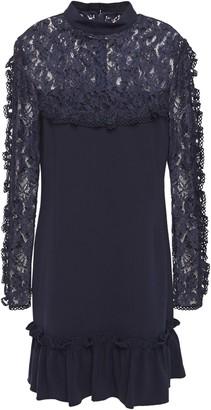 Nicholas Corded Lace-paneled Stretch-crepe Mini Dress