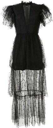 macgraw Long Tiered Flutter Dress