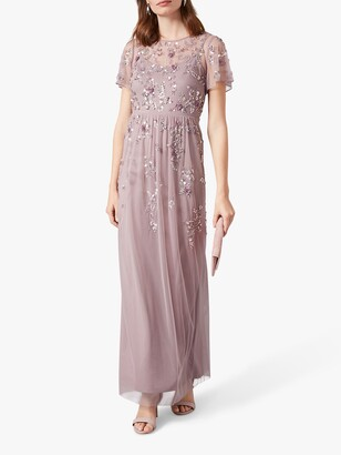 Phase Eight Sequin and Bead Embellishment Maxi Dress, Soft Lilac