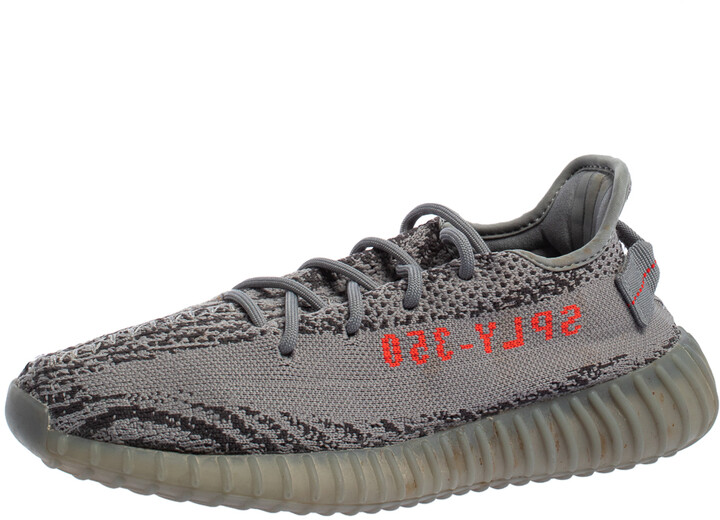 Yeezy x adidas Grey Knit Fabric Boost 350 V2 Beluga 2.0 Sneakers Size 39 1/3