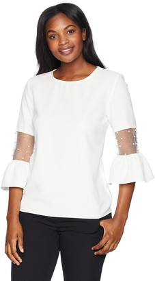MSK Women's Day to Evening Ruffle Sleeve top with mesh Detailing