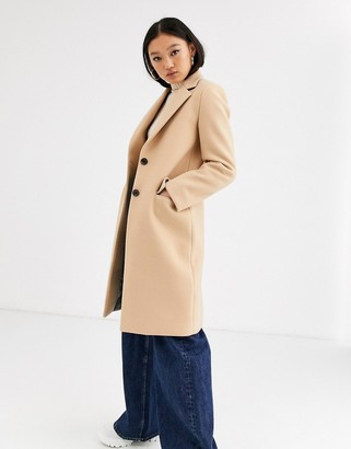 Gianni Feraud tailored coat with blue reverse collar-Brown