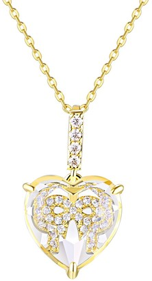 La Lumina 14k Gold Cubic Zirconia Accent Bow Heart Pendant Necklace