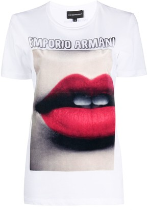 Emporio Armani lips print round neck T-shirt