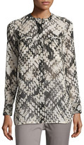 Vince Relaxed Graphic-Print Silk Top, White/Black