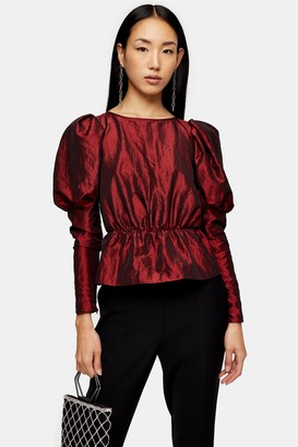 Topshop Womens Burgundy Long Sleeve Puff Taffeta Blouse - Wine