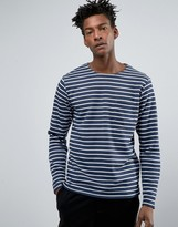 ONLY & SONS Breton Sweatshirt with Curved Hem in Dark Blue