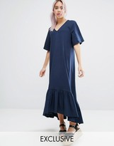 Monki V Neck Ruffle Hem Dress