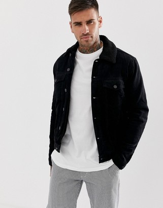 New Look corduroy jacket with borg lining in black