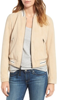 Derek Lam 10 Crosby Collarless Suede Bomber Jacket