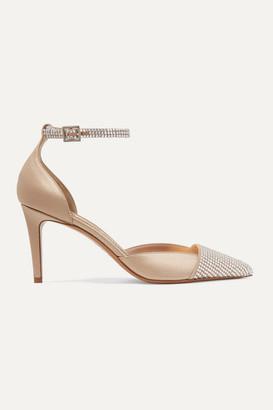 Alexandre Vauthier Cindy Crystal-embellished Suede And Satin Pumps - Beige