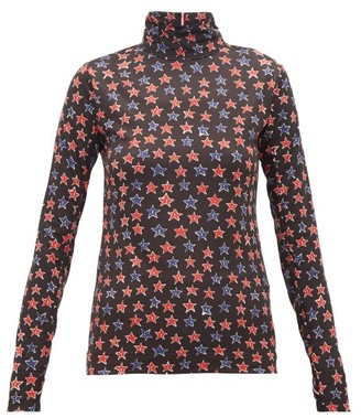 MONCLER GENIUS Star-print Technical-jersey Thermal Top - Womens - Black Multi