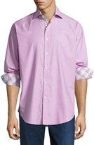 Thomas Dean Check-Print Long-Sleeve Sport Shirt, Pink