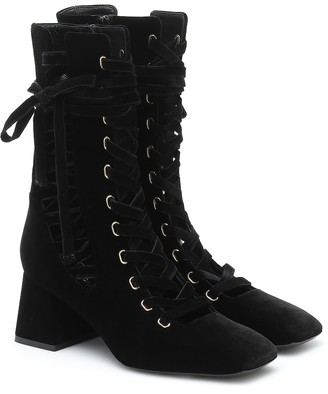 Zimmermann Lace-up velvet ankle boots