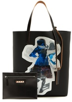 Marni Silhouette-print faux-leather tote