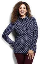 Classic Women's Plus Size 100 Everyday Fleece Mock Pullover-Ivory Dots