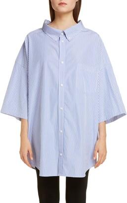 Balenciaga Logo Pinstripe Poplin Tunic Shirt