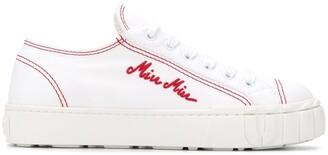 Miu Miu Logo-Embroidered Sneakers