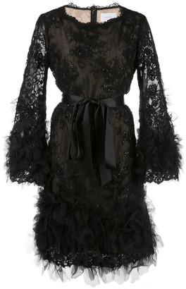 Marchesa Beaded Tie-Waist Dress