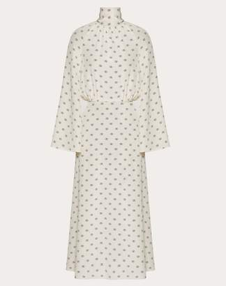 Valentino Mini Vlogo Crepe De Chine Dress Women Ivory Silk 100% 38