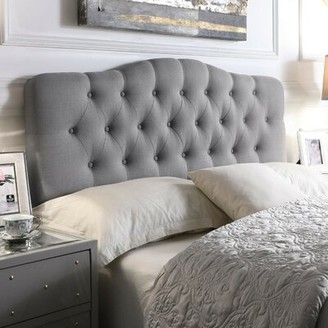 Andover Mills Dax Upholstered Panel Headboard Size: Full, Upholstery: Smoky Gray