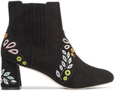 Sophia Webster Liliana Embroidered Suede Ankle Boots - Black