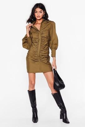 Nasty Gal Womens Hey What's the Ruche Mini Shirt Dress - Khaki