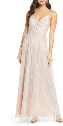 Sequin Hearts Glitter Stripe Mesh Gown
