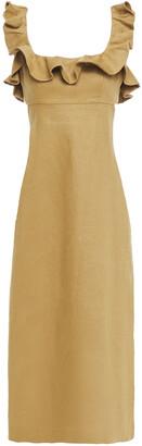 Zimmermann Open-back Ruffled Floral-print Linen Midi Dress