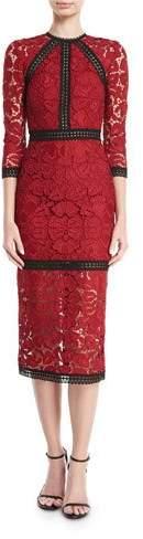 Alexis Randie High-Neck 3/4-Sleeve Lace Midi Dress