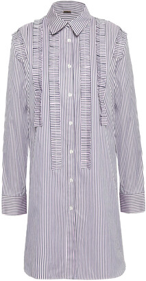 Adam Lippes Ruffle-trimmed Striped Tunic