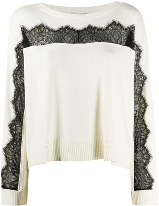 Twin-Set Lace-Embellished Round-Neck Jumper