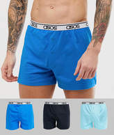 Asos Design ASOS DESIGN 3 pack jersey boxer in blue with branded waistband save