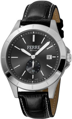 Ferré Milano Men's 43mm Stainless Steel Date Sub-Seconds Diver Watch with Leather Strap, Steel/Black