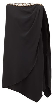 Gucci Crystal-embellished Draped Cady Dress - Womens - Black