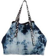 Jerome Dreyfuss Snakeskin & Denim Pat Tote