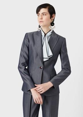 Giorgio Armani Single-Breasted Jacket In Denim-Effect Chevron Fabric