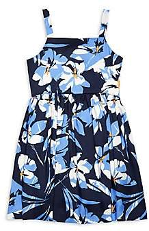 Milly Girl's Floral Pleated Apron Dress