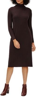 Eileen Fisher Scrunch Neck Ribbed Wool Sweater Dress